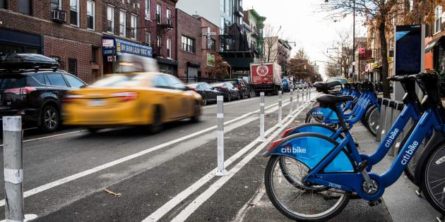 "Des ""Citi Bikes"", vélos en libre-service à New-York."