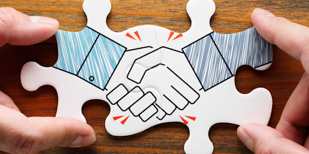 Concept image of business partnership and collaboration