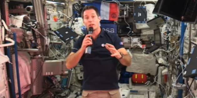 Thomas Pesquet, dans le laboratoire Columbus de la Station spatiale internationale.