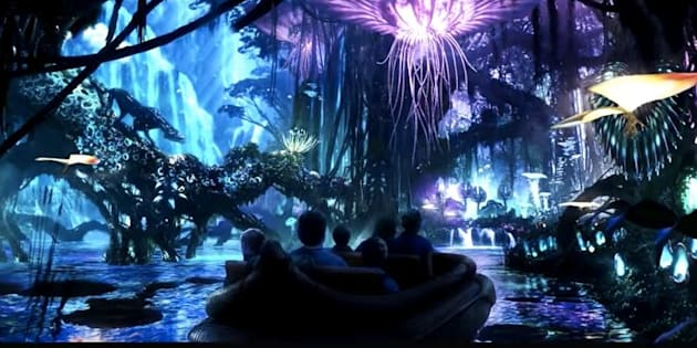 A glimpse of Pandora's river ride through a bioluminescent forest.