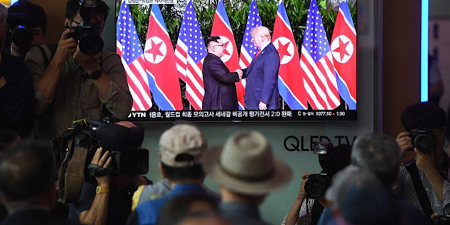 El momento en el que ambos líderes se han saludado.