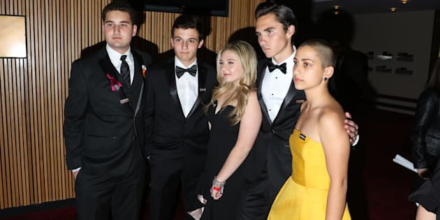 Parkland activists Alex Wind, Cameron Kasky, Jaclyn Corin, David Hogg, and Emma Gonzalez attend the Time 100 Gala at Jazz at Lincoln Center on April 24, 2018 in New York, New York.