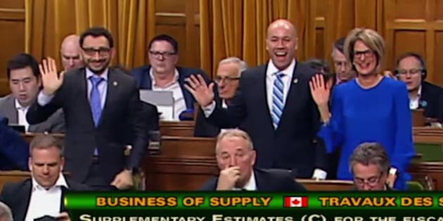 Liberal MPs Omar Alghabra, Andy Fillmore, and Pam Goldsmith-Jones wave at the camera during a procedural vote on March 22, 2018.