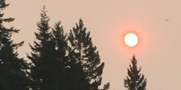 Forest fire smoke in Squamish