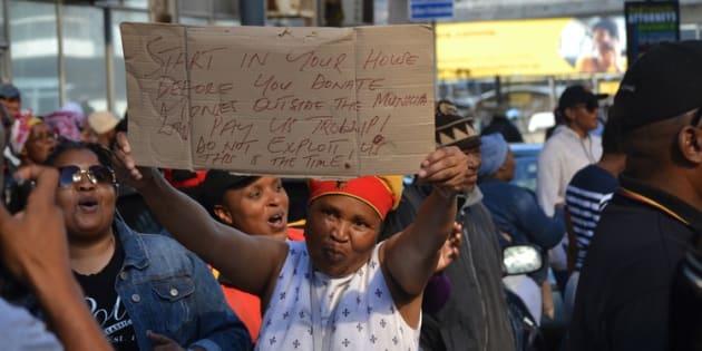 Port Elizabeth municipal workers on strike in June demanding back pay.