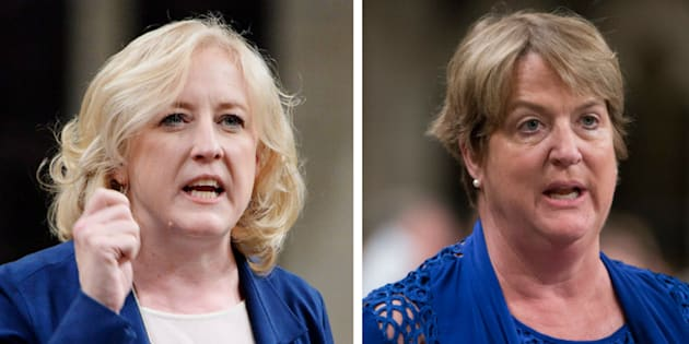 Conservative MPs Lisa Raitt, left, and Cathy McLeod, are criticizing Prime Minister Justin Trudeau for his comments about a jury's acquittal of Gerald Stanley.
