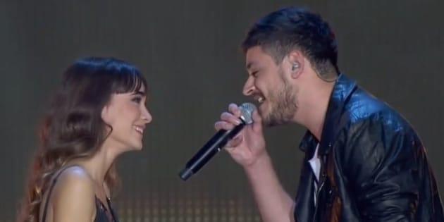 Aitana y Cepeda, durante un concierto de 'OT'.