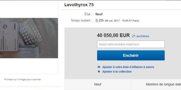 une bo te de levothyrox propos e plus de euros sur un site d 39 ench res. Black Bedroom Furniture Sets. Home Design Ideas
