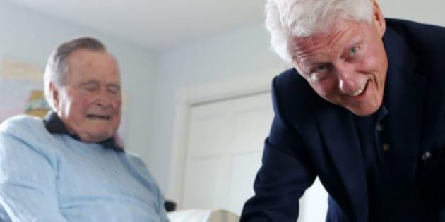 La rencontre entre George Bush et Bill Clinton lundi 25 juin 2018.