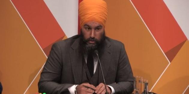 Jagmeet Singh speaks at the NDP leadership debate in Saskatoon on July 11, 2017.