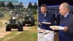 Pendant des manœuvres militaires records, Poutine et le président chinois font des