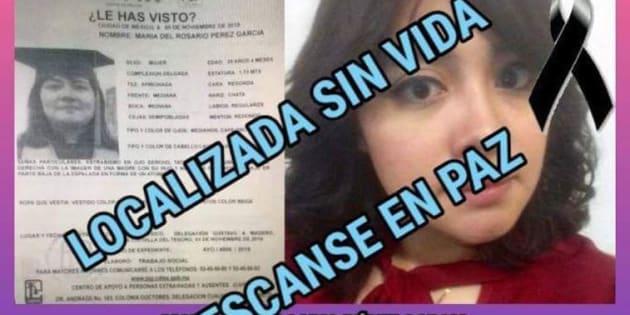 Hallan sin vida a María del Rosario, estudiante de la FES Cuautitlán, desaparecida el 3 de noviembre pasado.