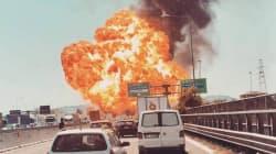 Forte esplosione in tangenziale a Bologna, in fiamme un camion. Un morto e 68