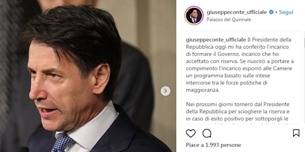 Il nuovo profilo ufficiale su Instagram di Giuseppe Conte