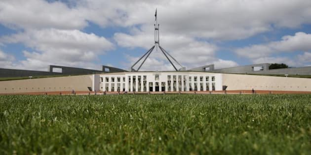 The grass in front of Parliament House in Canberra