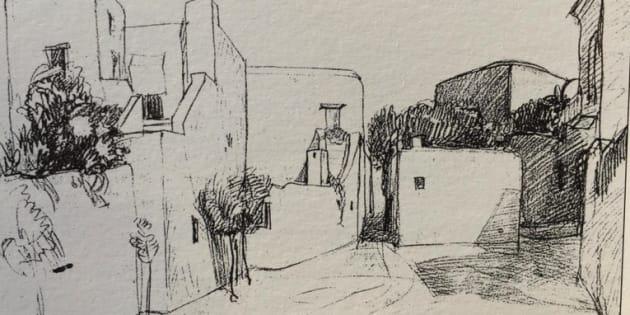 Piazza Le Boffe (matita, anni Trenta)