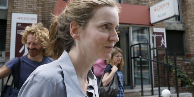 Nathalie Kosciusko-Morizet quittant l'hôpital après son agression.