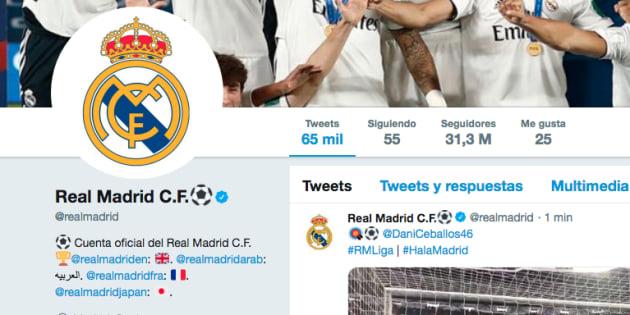 Cuenta oficial del Real Madrid en Twitter.