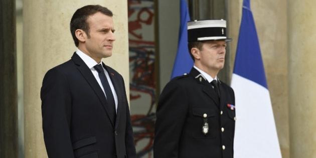 Emmanuel Macron à l'Elysée le 16 avril 2018.