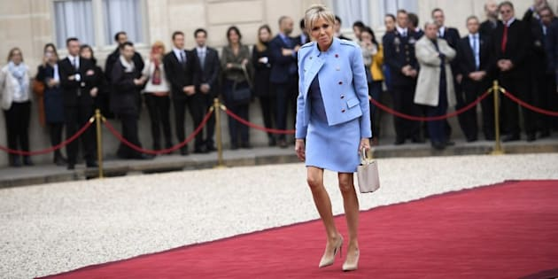 Brigitte Macron lors de la passation de pouvoirs à l'Elysée le 14 mai 2017.