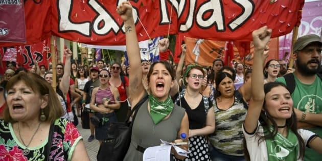 Manifestación contra la violencia de género y los femicidios en Argentina, el 1 de febrero de 2019 en Buenos Aires