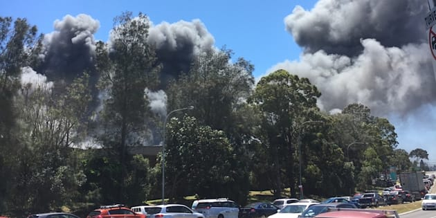 Billowing smoke can be seen coming at a massive fire in Revesby on Saturday morning, 5th November.