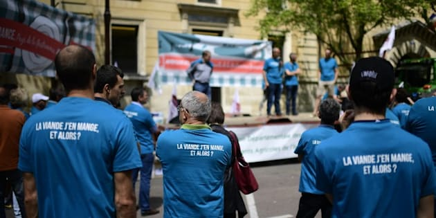 Des agriculteurs devant le tribunal correctionnel de Versailles le 12 juin 2017.