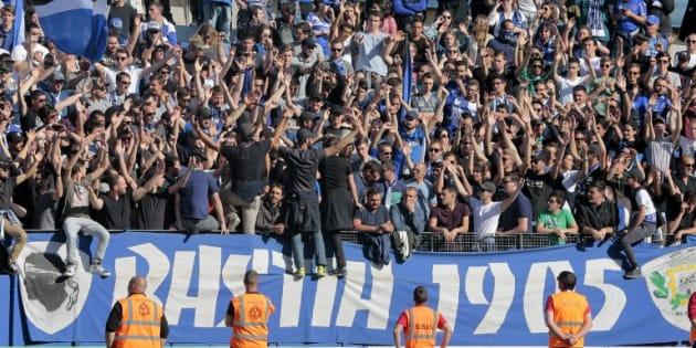 Les supporters bastiais lors de Bastia-Lyon le 16 avril 2017.