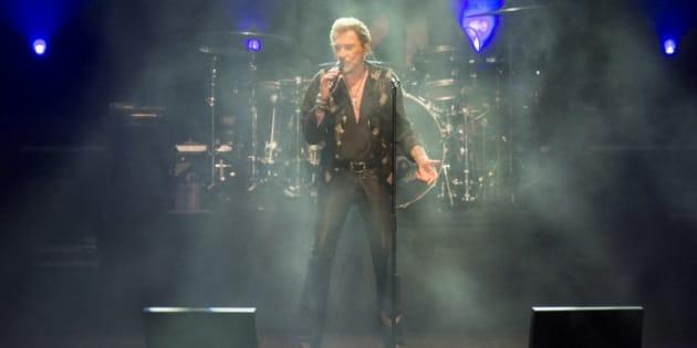 Johnny Hallyday en concert à Noumea (Nouvelle-Calédonie) le 29 avril 2016.