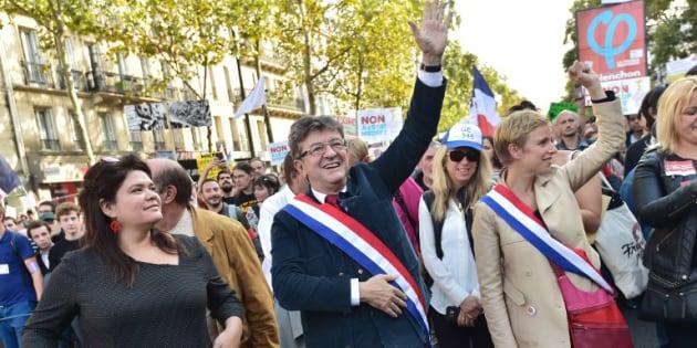Raquel Garrido et Jean-Luc Mélenchon à Paris le 23 septembre 2017.