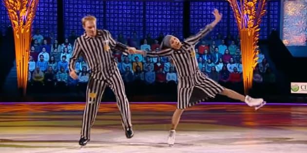 "Tatiana Navka et Andrey Burkovskiy dans ""Ice Age"", samedi 26 novembre."