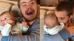 L'émotion de cet homme atteint de trisomie 21 quand il prend enfin un bébé dans ses