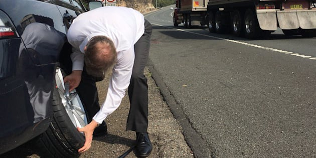 Anthony Albanese takes on a tyre