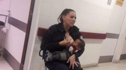 女性警官が栄養失調の赤ちゃんに授乳。とっさの判断に称賛集まる