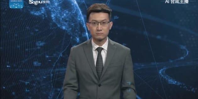Robot presentado por la agencia de Noticias Xinhua. Se trata de un producto que resulta de la conjunción de la inteligencia artificial con otras tecnologías de frontera.