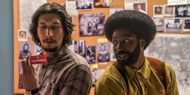 Os atores Adam Driver e  John David Washington são parceiros em 'BlacKkKlansman'.