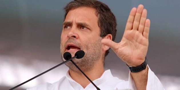Rahul Gandhi at a public rally in Telangana.