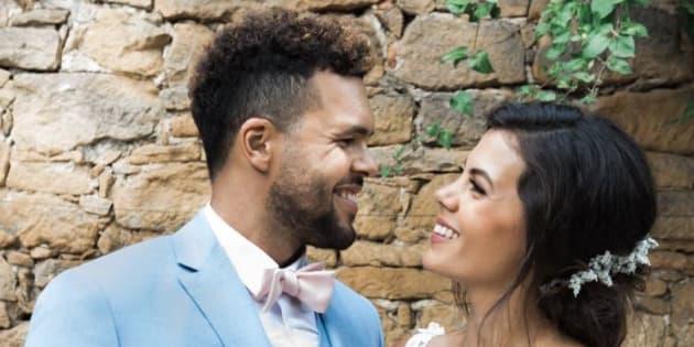 Jo-Wilfried Tsonga et sa femme, Noura El Swekh, le jour de leur mariage le 21 juillet 2018