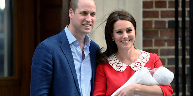 Prince William, Duke of Cambridge and Catherine, Duchess of Cambridge, with Prince Louis outside the Lindo Wing.