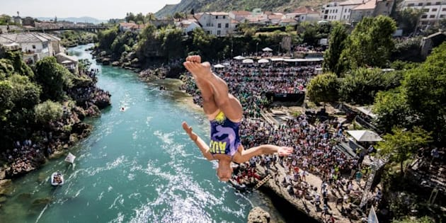 Wheeeee! This is Iffland diving off the famous Mostar Bridge in Bosnia and Herzegovina.