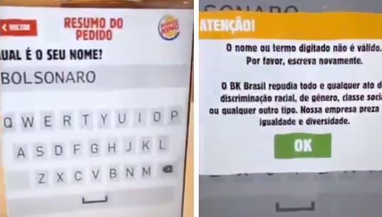 Por que Burger King vetou nome de Bolsonaro no totem de