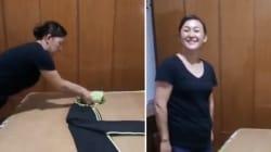 Cette dame a une technique géniale pour plier n'importe quoi et en plus avec le