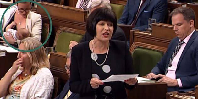Democratic Institutions Minister Karina Gould breastfeeds during Question Period on June 19, 2018.