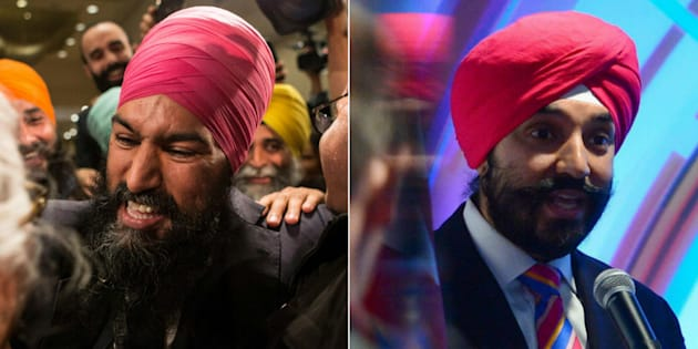 Jagmeet Singh, left, was named the NDP's new federal leader on Sunday. Navdeep Bains, right, is Canada's innovation minister.