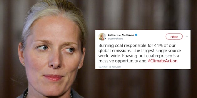 Environment Minister Catherine McKenna tweeted out facts about coal's contribution to climate change on Monday.