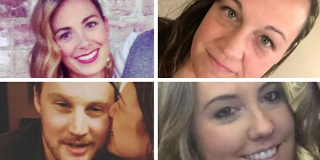 Four Canadians — clockwise from top right: Tara Roe Smith, Jessica Klymchuk, Calla Medig, and Jordan McIldoon — were killed in a shooting rampage in Las Vegas on Sunday.