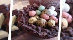 Pour Pâques, on a voulu faire des nids en chocolat (et il faut avoir du temps devant