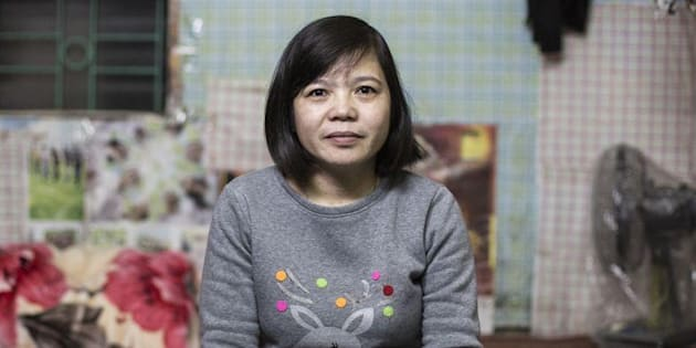 Hoan works at the Tinh Loi Garment Factory, in North Vietnam, where she works on average 62 hours each week, earning around $1 an hour, packaging t-shirts and shirts for global export.
