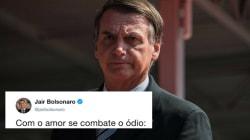 Bolsonaro expõe ataques e ironiza: 'Com o amor se combate o