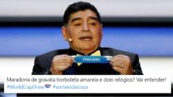 O destaque do sorteio da Copa 2018 certamente foi Maradona e sua gravata